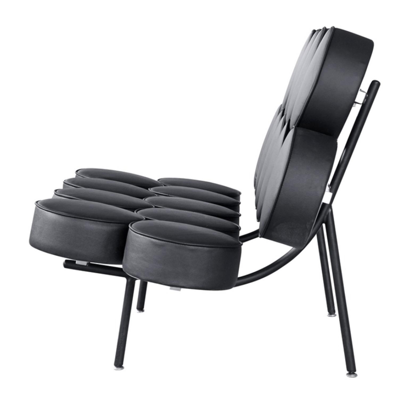 Sofa In Black Leather W/ Circle Seat & Back Design - image-3