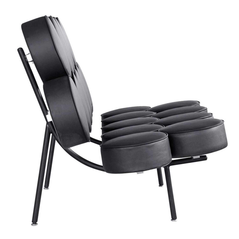 Sofa In Black Leather W/ Circle Seat & Back Design - image-1