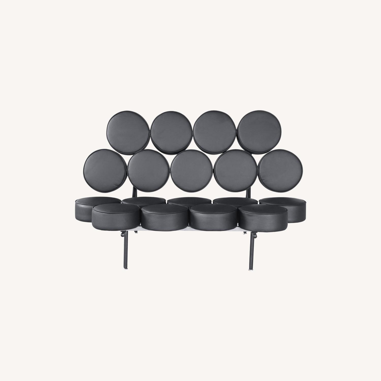 Sofa In Black Leather W/ Circle Seat & Back Design - image-7