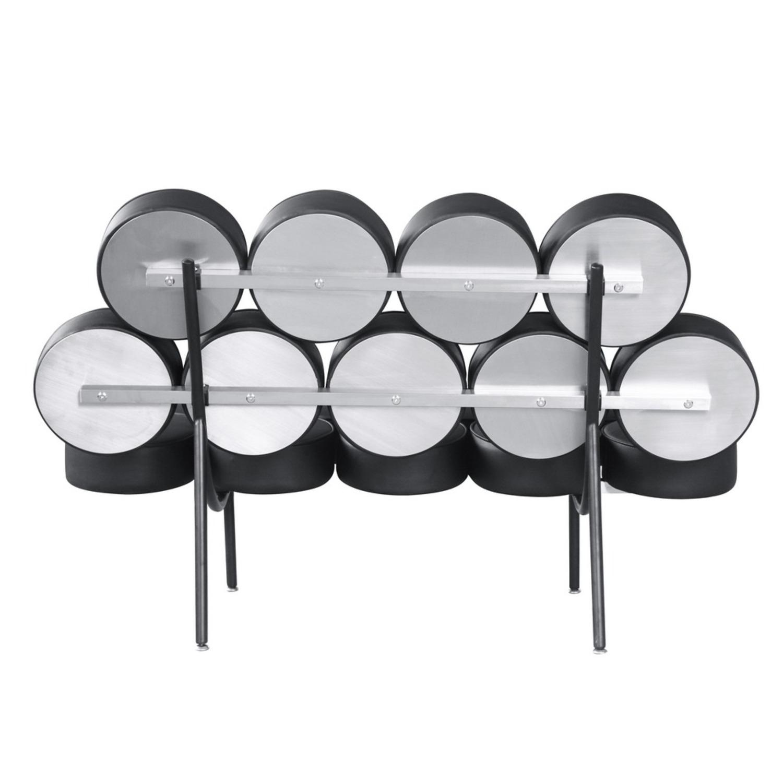 Sofa In Black Leather W/ Circle Seat & Back Design - image-2