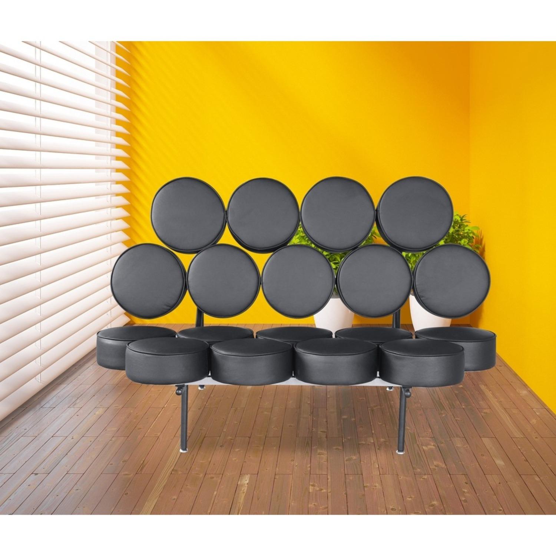 Sofa In Black Leather W/ Circle Seat & Back Design - image-6
