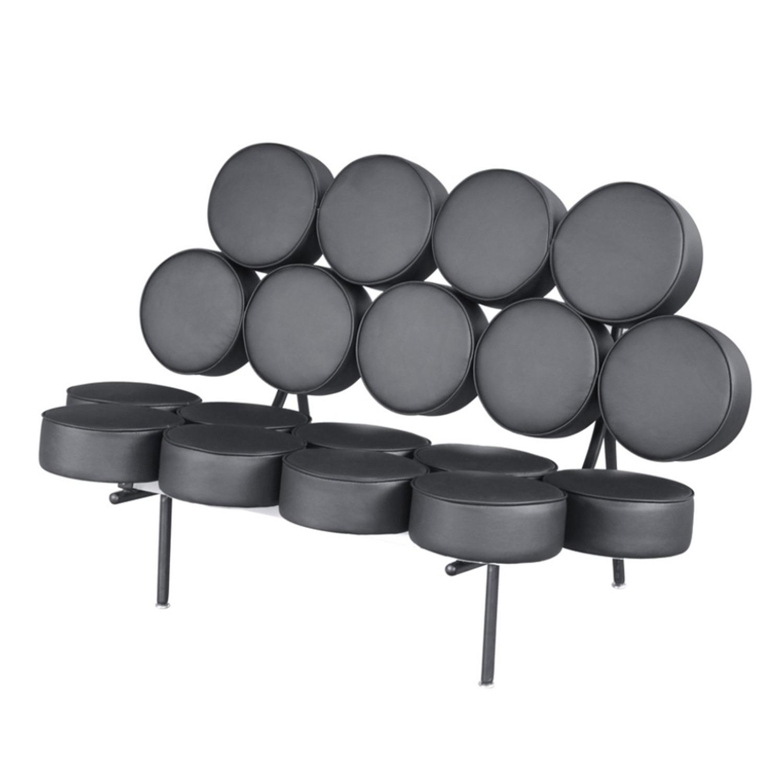 Sofa In Black Leather W/ Circle Seat & Back Design - image-4