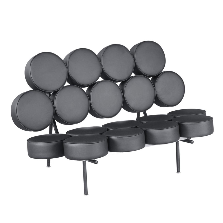 Sofa In Black Leather W/ Circle Seat & Back Design - image-0