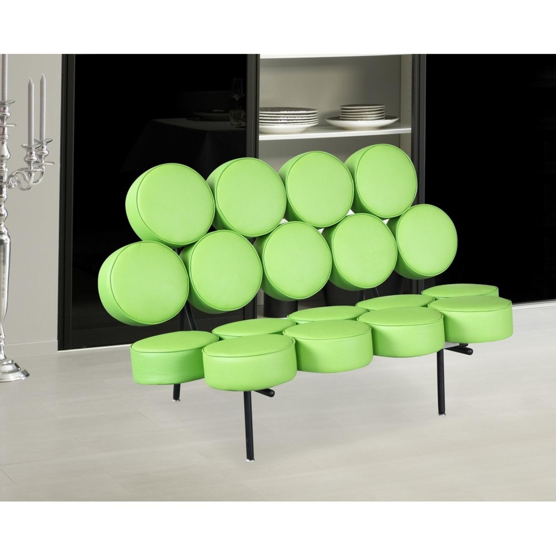 Sofa In Green Leather W/ Circle Seat & Back Design - image-6
