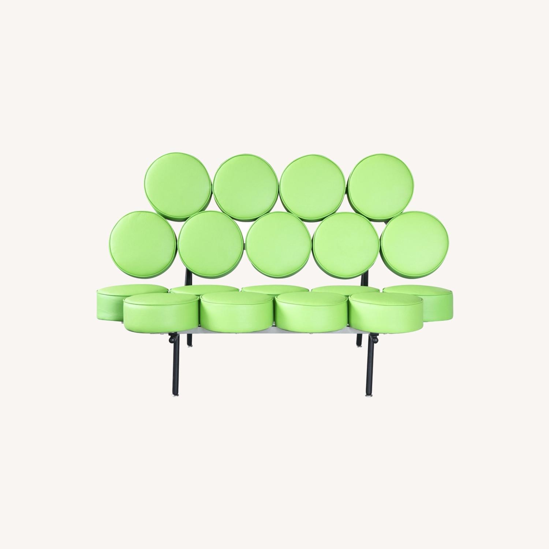 Sofa In Green Leather W/ Circle Seat & Back Design - image-7