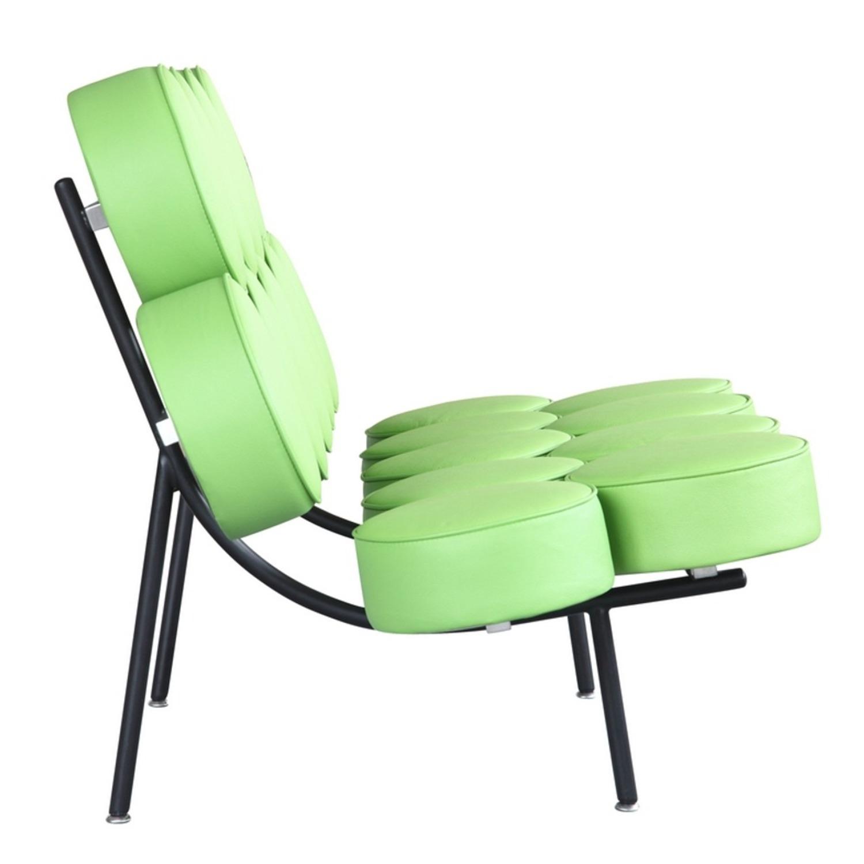 Sofa In Green Leather W/ Circle Seat & Back Design - image-1