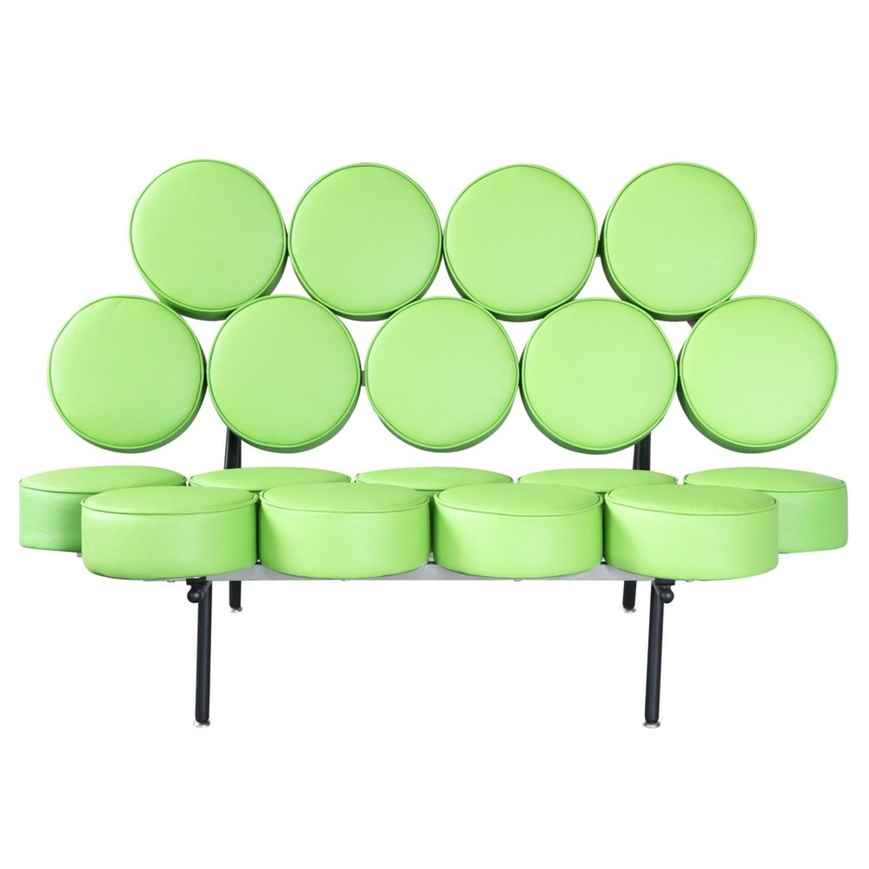 Sofa In Green Leather W/ Circle Seat & Back Design - image-5