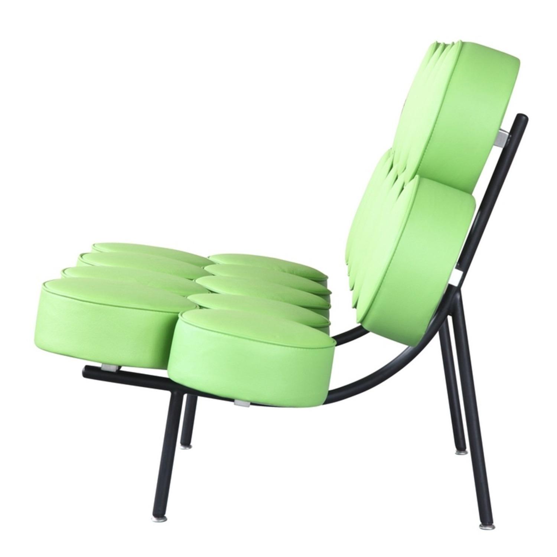Sofa In Green Leather W/ Circle Seat & Back Design - image-3
