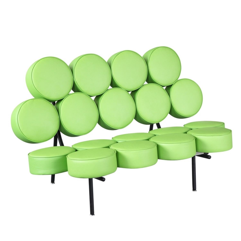 Sofa In Green Leather W/ Circle Seat & Back Design - image-0