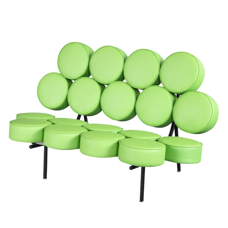 Sofa In Green Leather W/ Circle Seat & Back Design - image-4