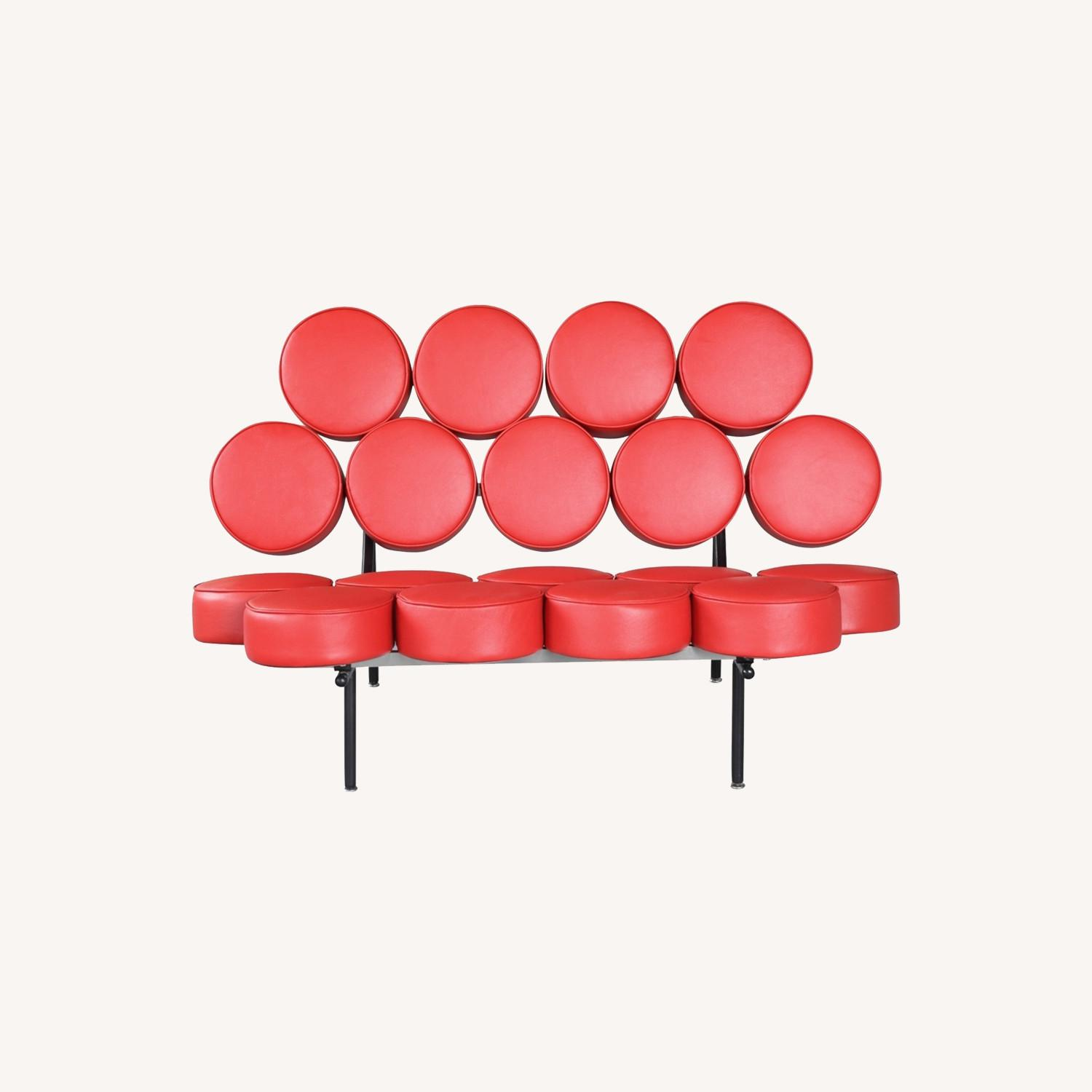 Sofa In Red Leather W/ Circle Seat & Back Design - image-7