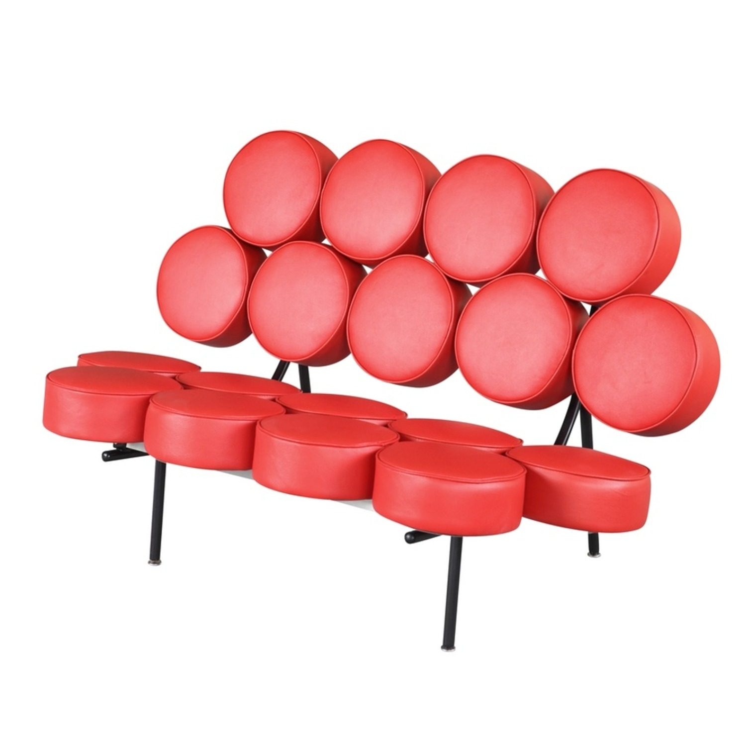 Sofa In Red Leather W/ Circle Seat & Back Design - image-4
