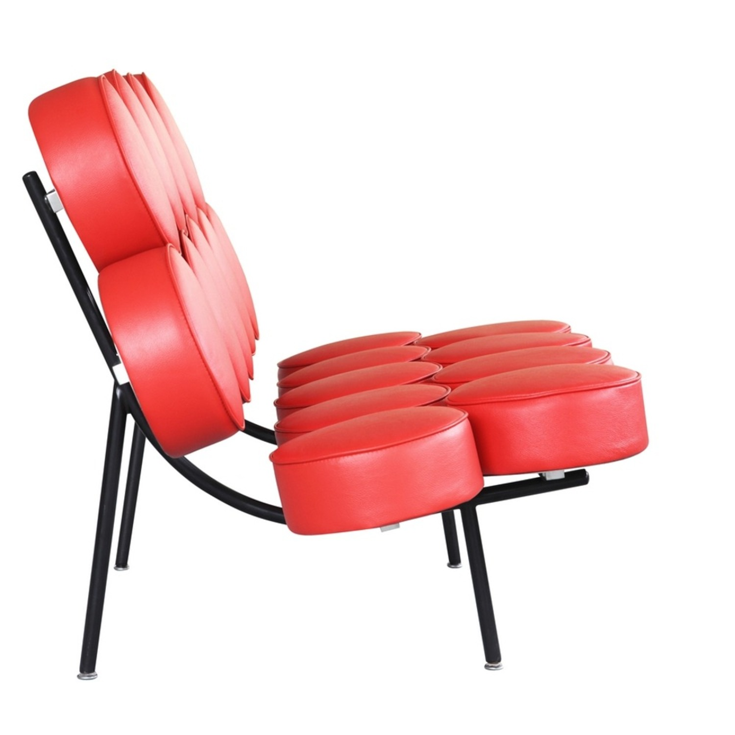 Sofa In Red Leather W/ Circle Seat & Back Design - image-1