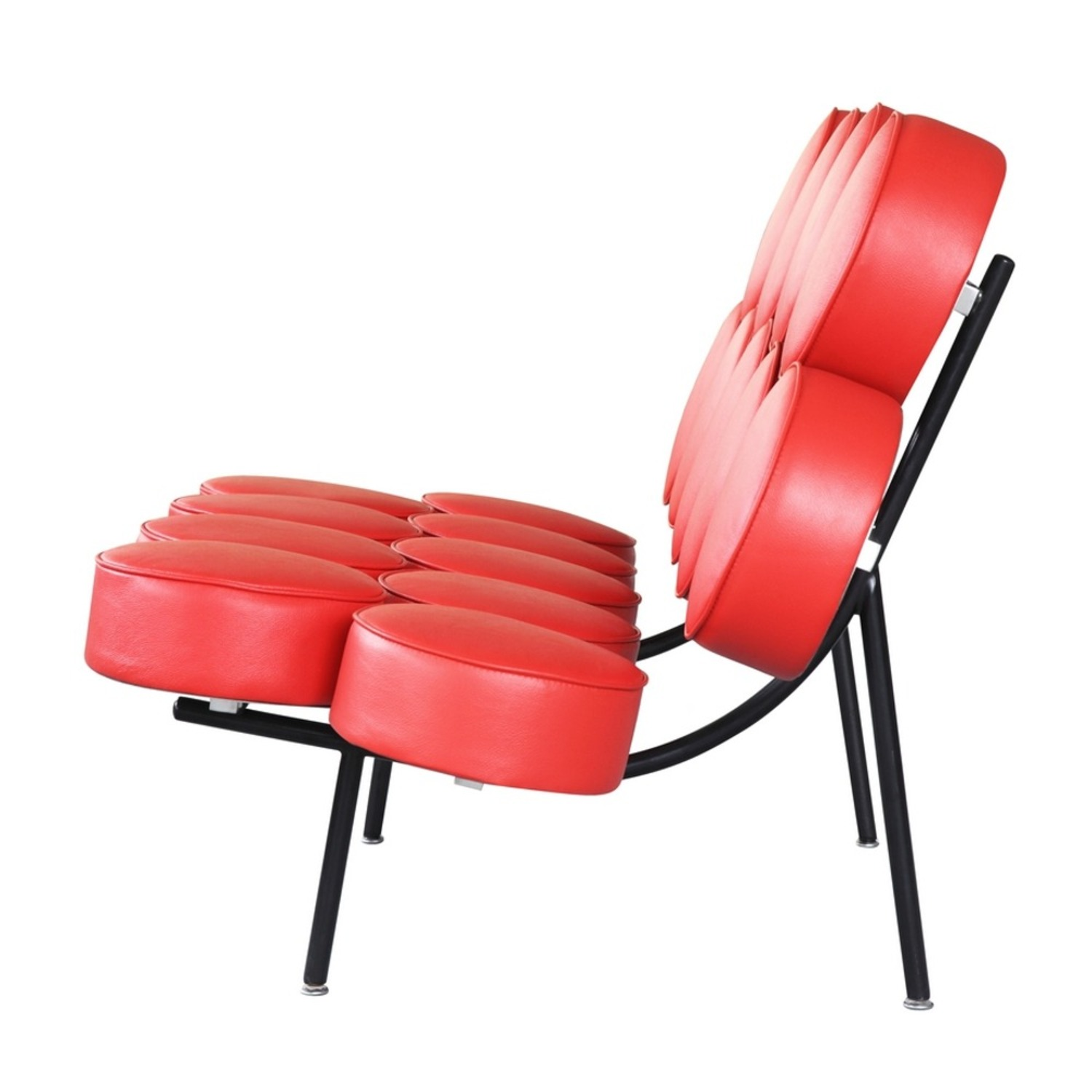 Sofa In Red Leather W/ Circle Seat & Back Design - image-3