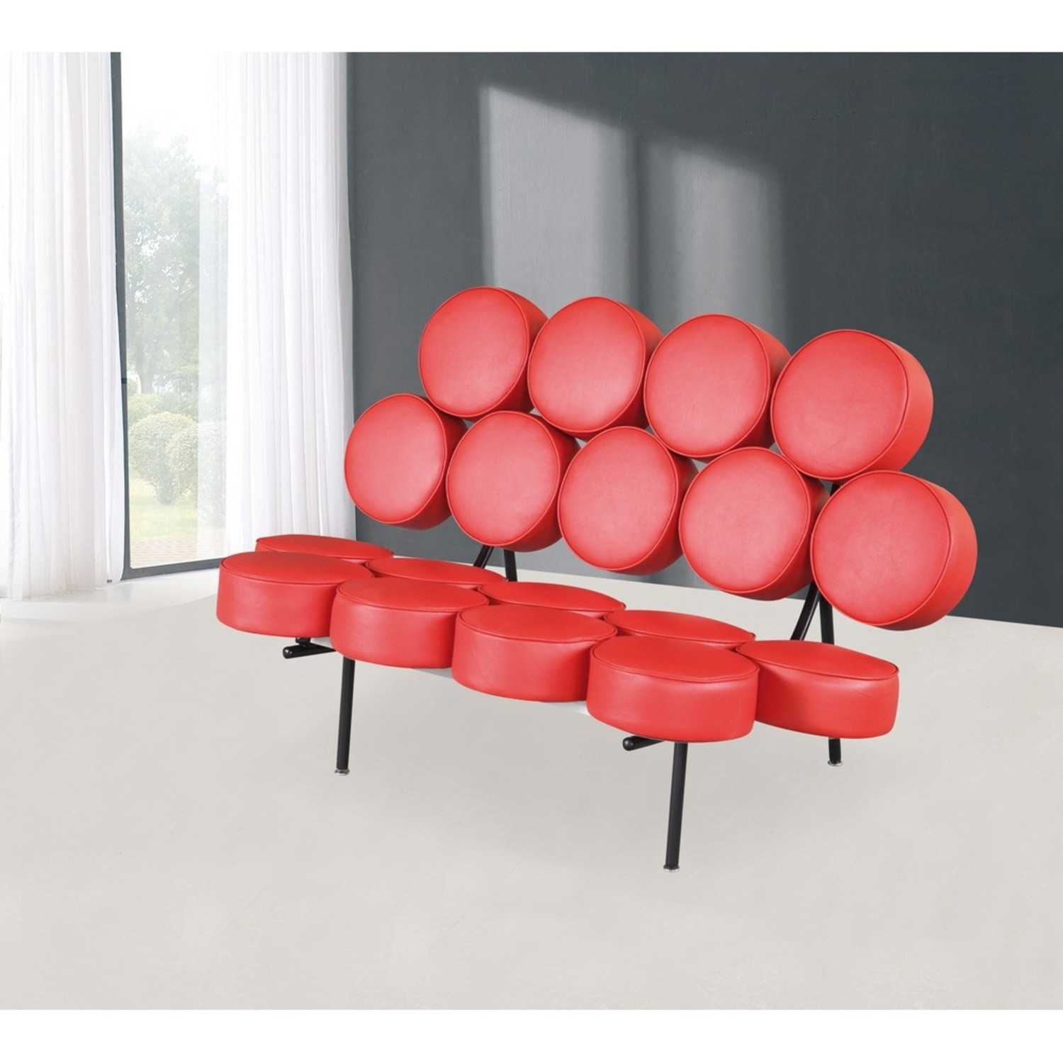 Sofa In Red Leather W/ Circle Seat & Back Design - image-6