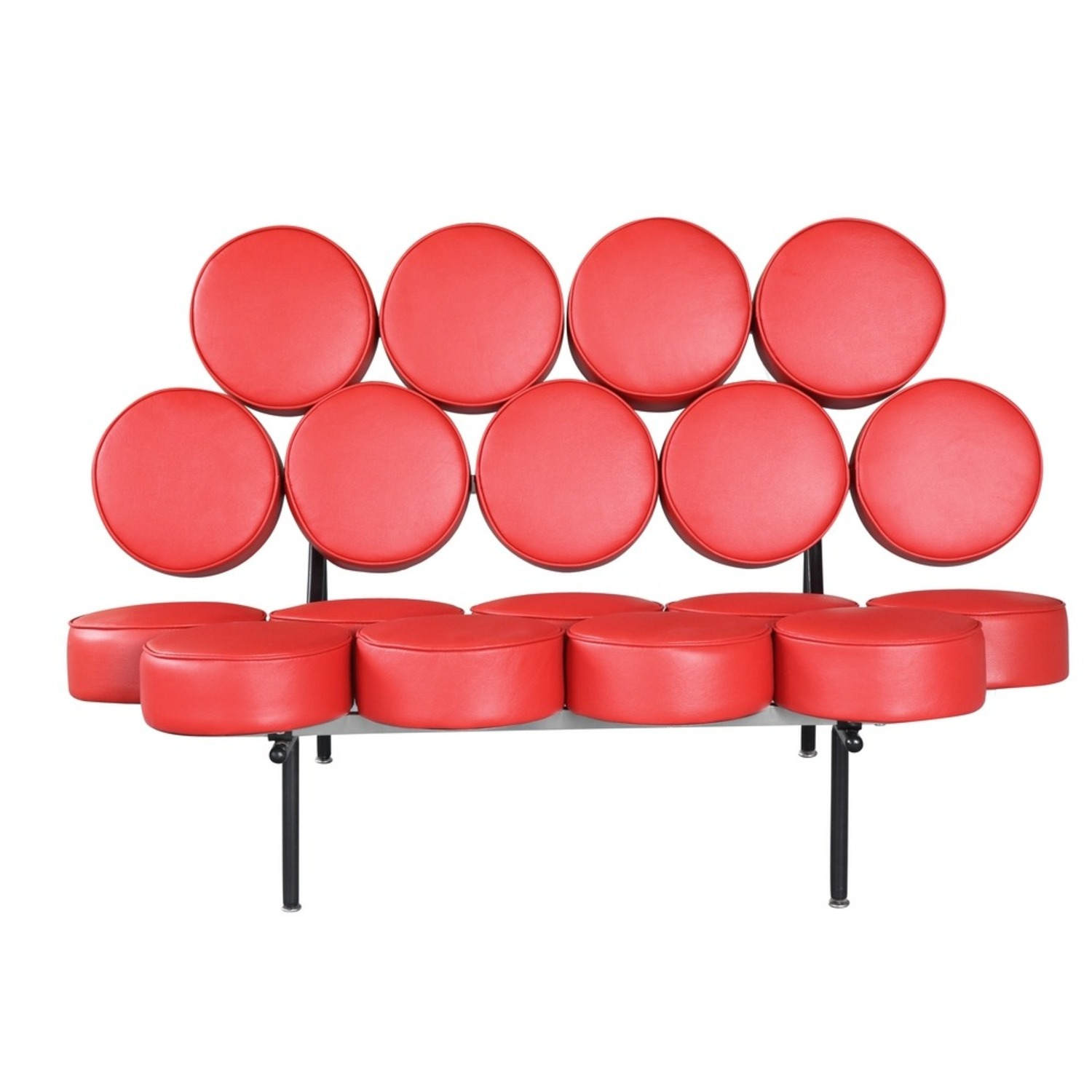 Sofa In Red Leather W/ Circle Seat & Back Design - image-5