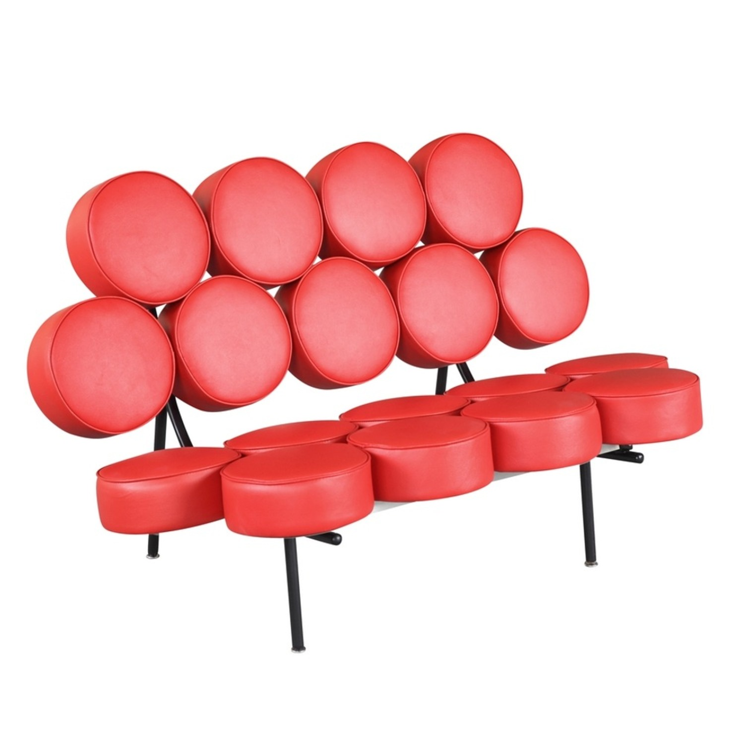 Sofa In Red Leather W/ Circle Seat & Back Design - image-0