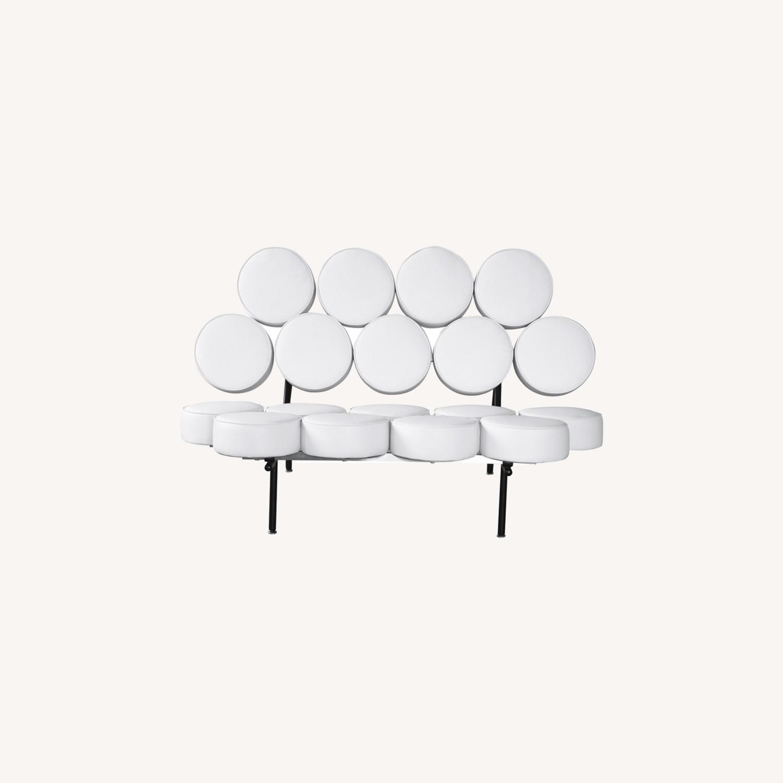 Sofa In White Leather W/ Circle Seat & Back Design - image-7