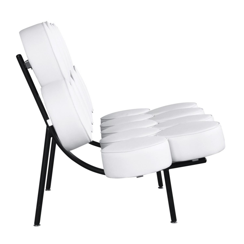 Sofa In White Leather W/ Circle Seat & Back Design - image-1