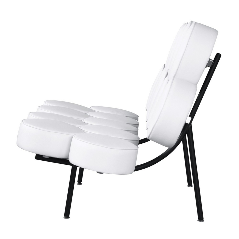 Sofa In White Leather W/ Circle Seat & Back Design - image-3