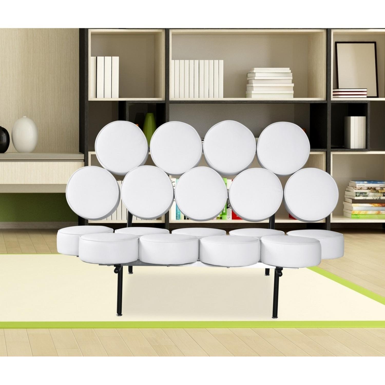 Sofa In White Leather W/ Circle Seat & Back Design - image-6