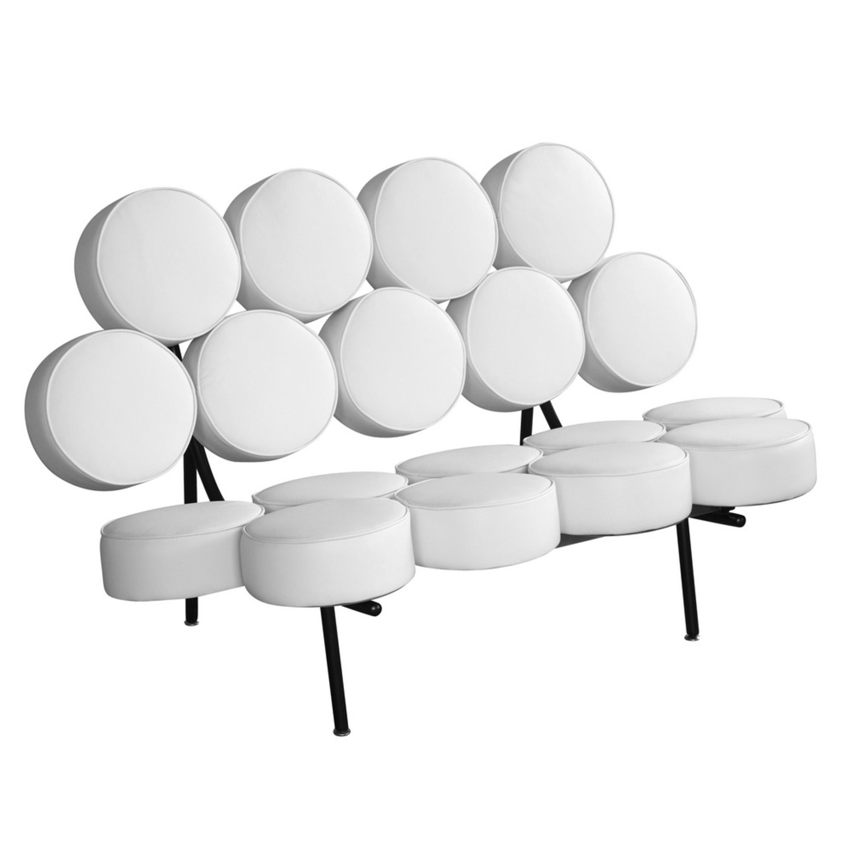 Sofa In White Leather W/ Circle Seat & Back Design - image-0