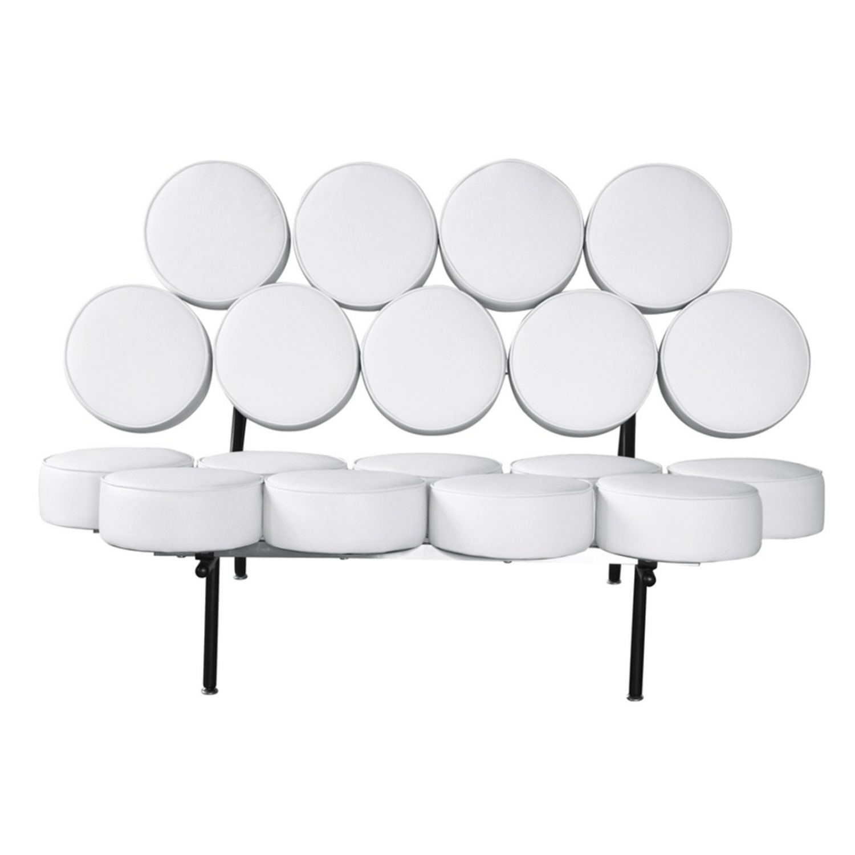 Sofa In White Leather W/ Circle Seat & Back Design - image-5
