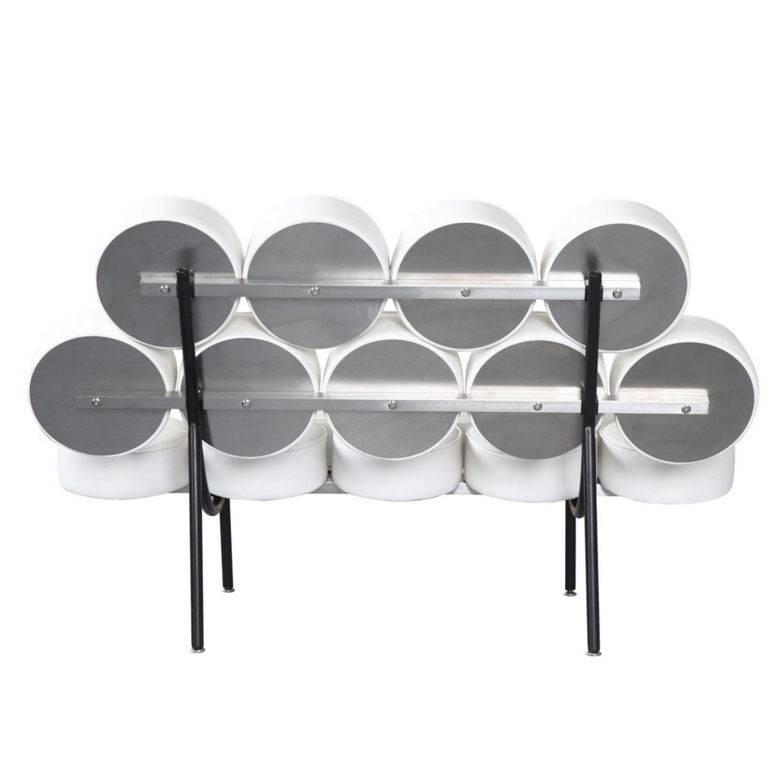 Sofa In White Leather W/ Circle Seat & Back Design - image-2