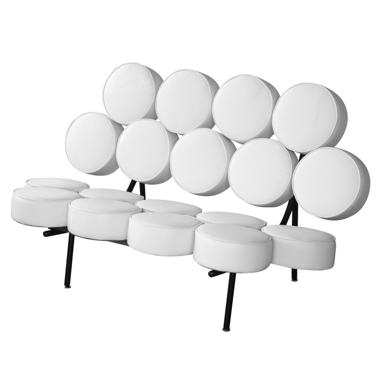 Sofa In White Leather W/ Circle Seat & Back Design - image-4