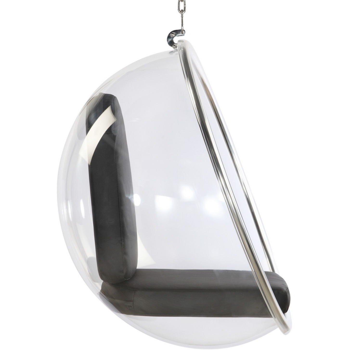 Hanging Chair In Clear Acrylic & Black PU Leather - image-1