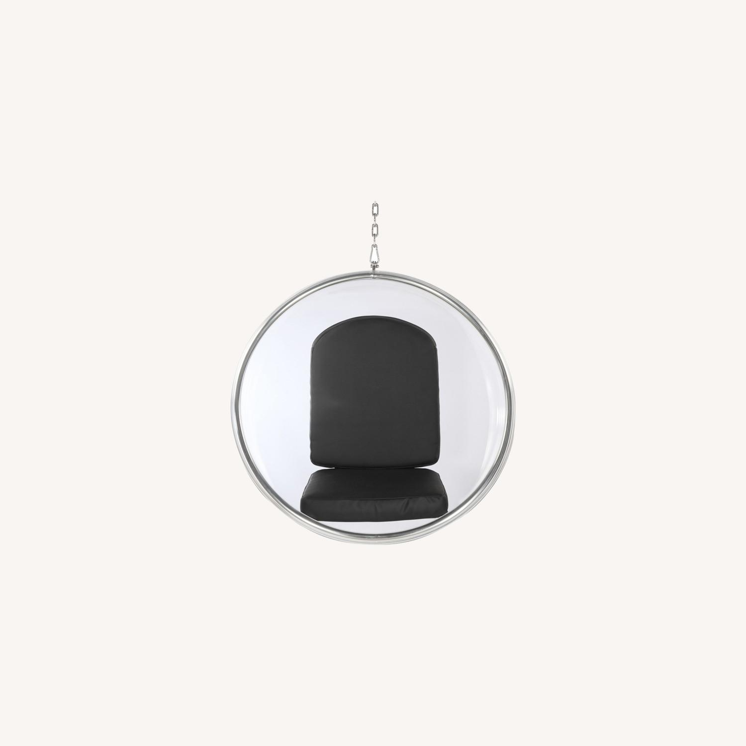 Hanging Chair In Clear Acrylic & Black PU Leather - image-7