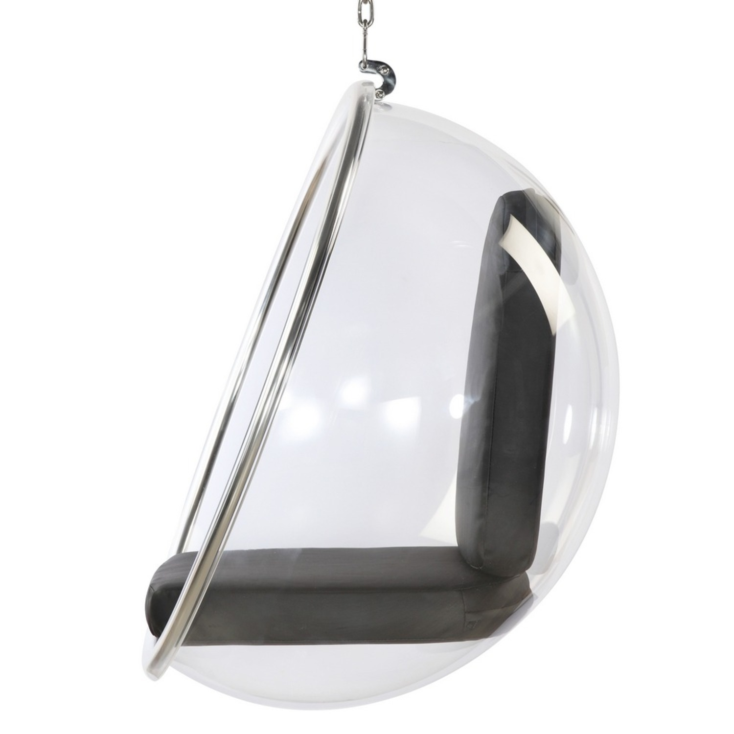 Hanging Chair In Clear Acrylic & Black PU Leather - image-3