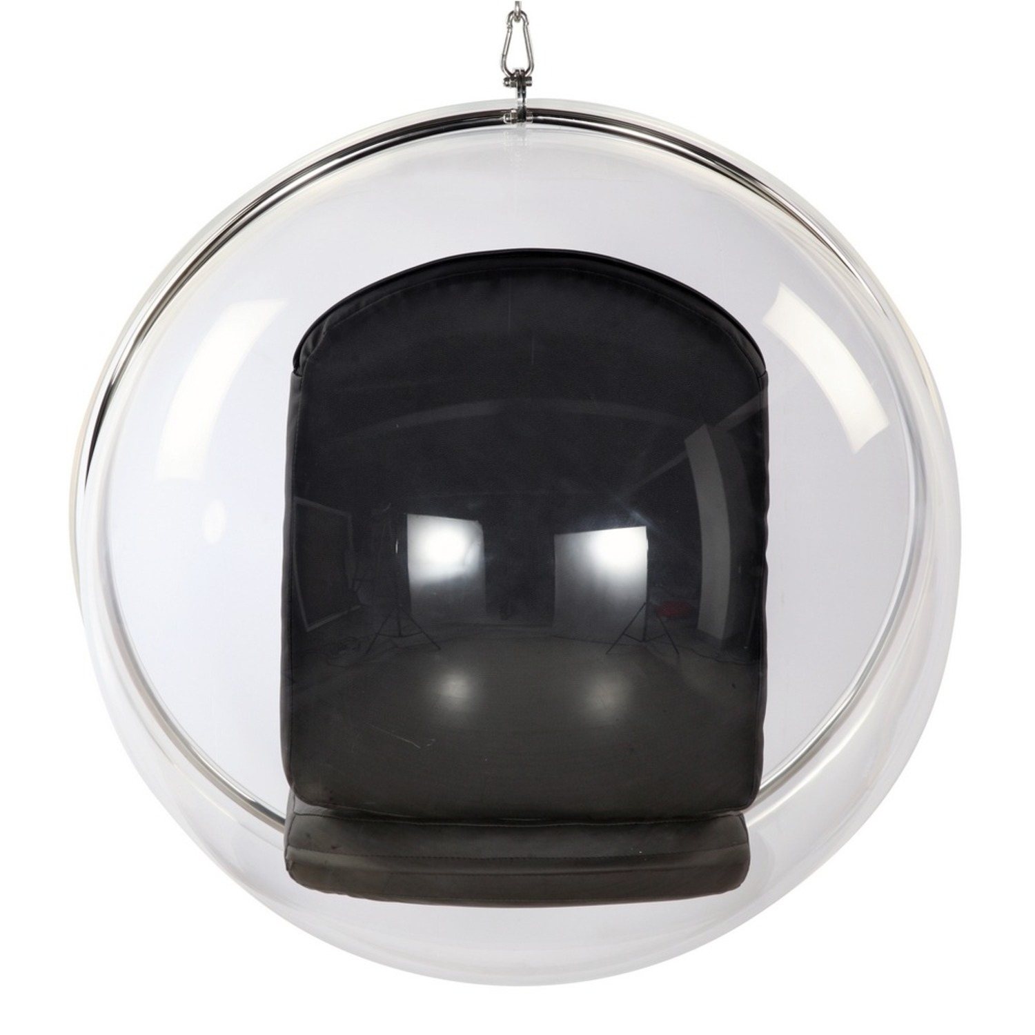 Hanging Chair In Clear Acrylic & Black PU Leather - image-2