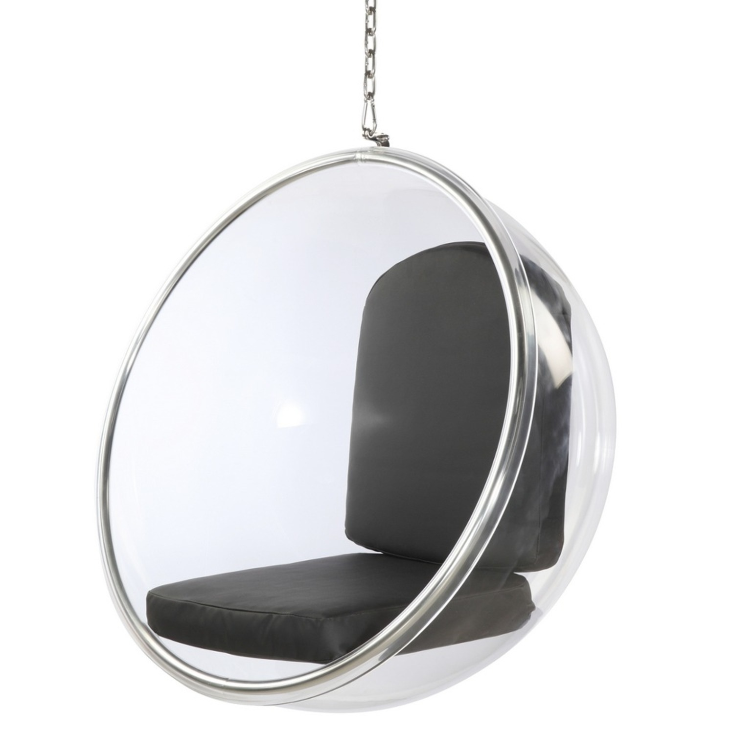 Hanging Chair In Clear Acrylic & Black PU Leather - image-4