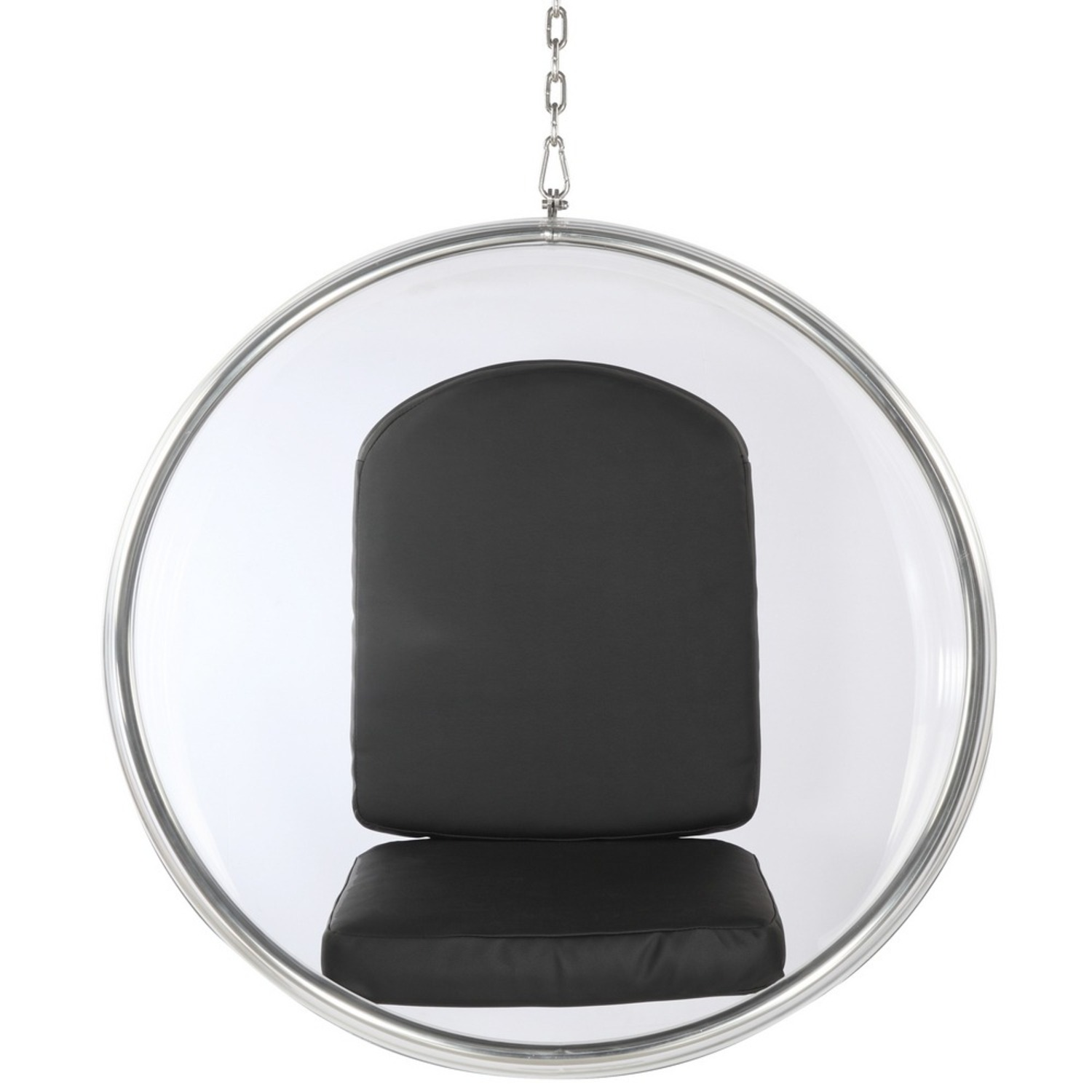 Hanging Chair In Clear Acrylic & Black PU Leather - image-5