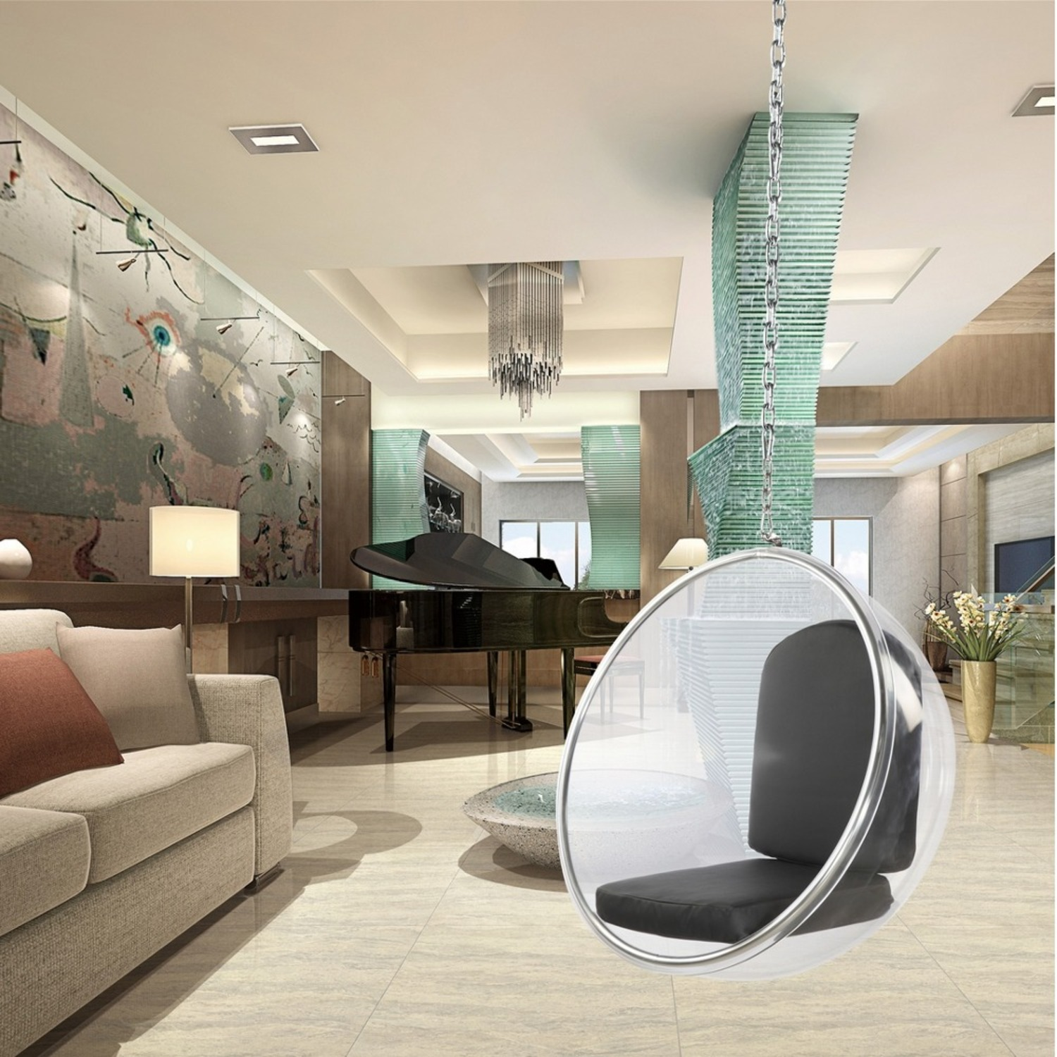 Hanging Chair In Clear Acrylic & Black PU Leather - image-6