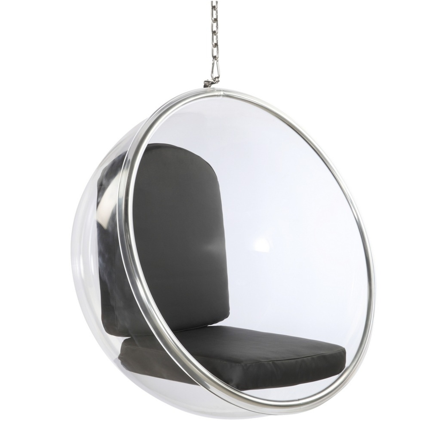Hanging Chair In Clear Acrylic & Black PU Leather - image-0