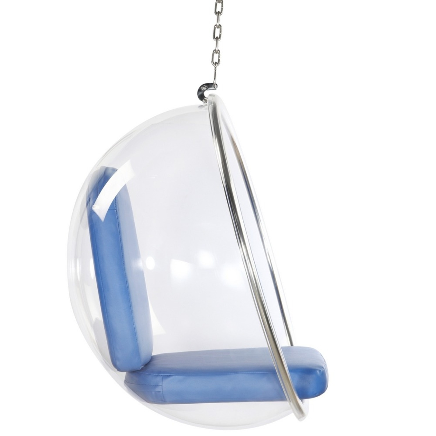 Hanging Chair In Clear Acrylic & Blue PU Leather - image-1