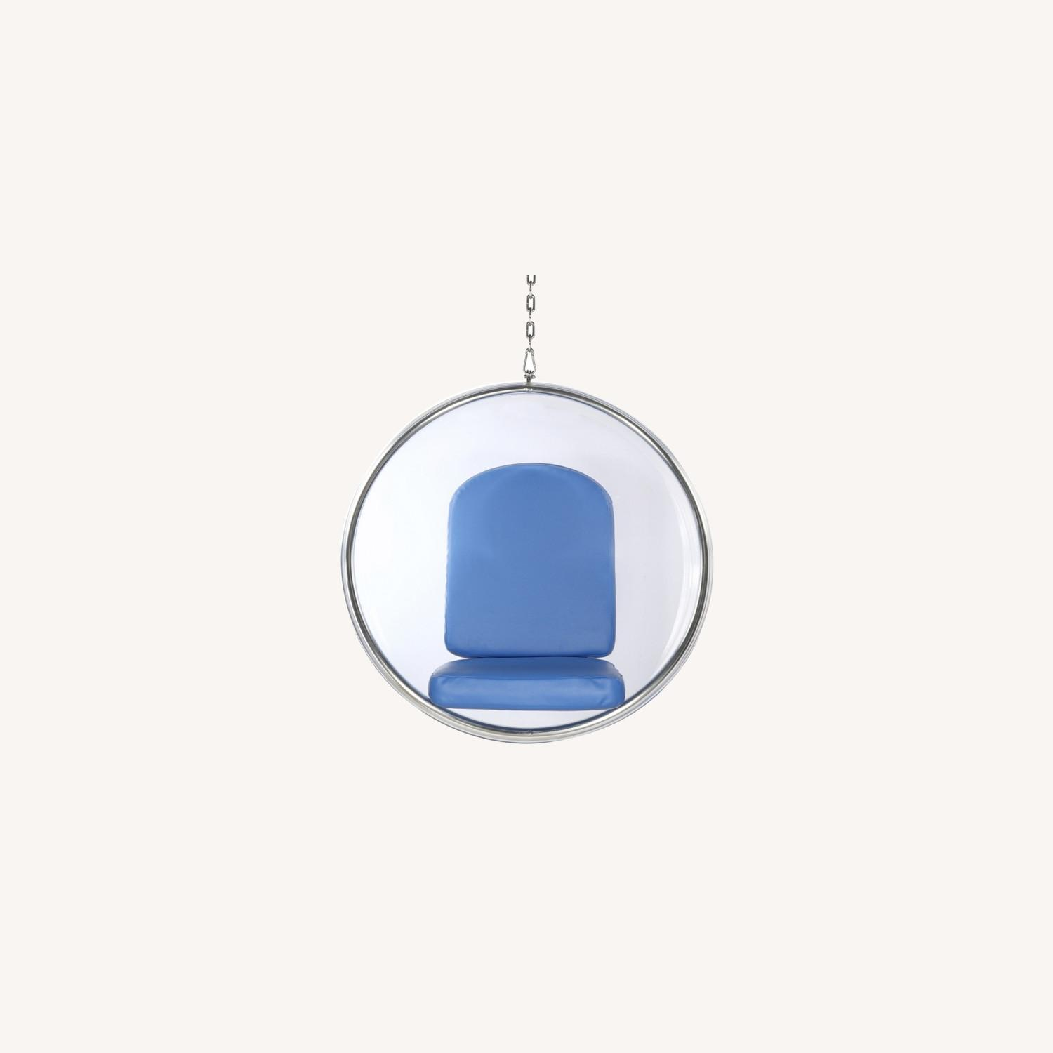 Hanging Chair In Clear Acrylic & Blue PU Leather - image-7