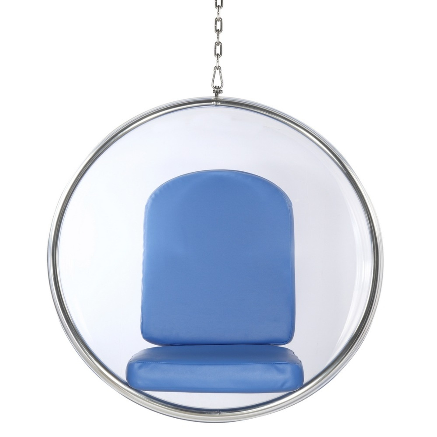 Hanging Chair In Clear Acrylic & Blue PU Leather - image-5