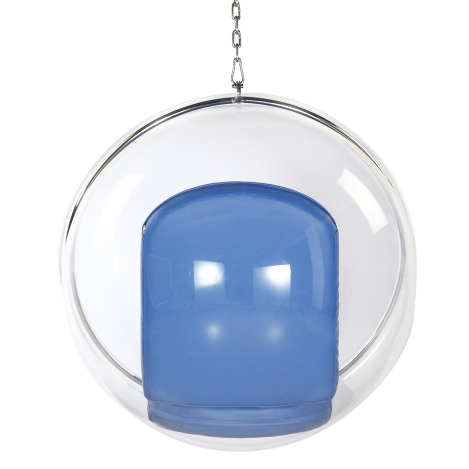 Hanging Chair In Clear Acrylic & Blue PU Leather - image-2