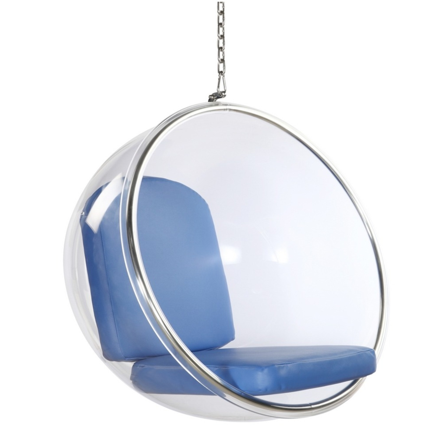 Hanging Chair In Clear Acrylic & Blue PU Leather - image-0