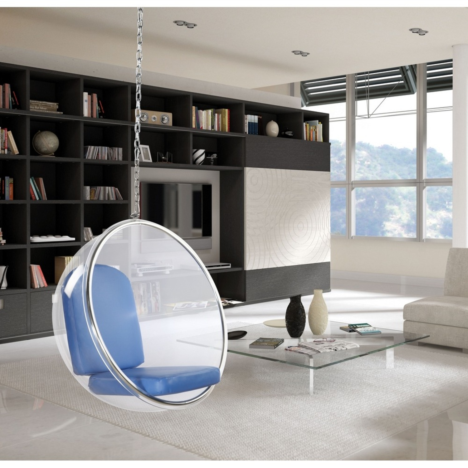 Hanging Chair In Clear Acrylic & Blue PU Leather - image-6