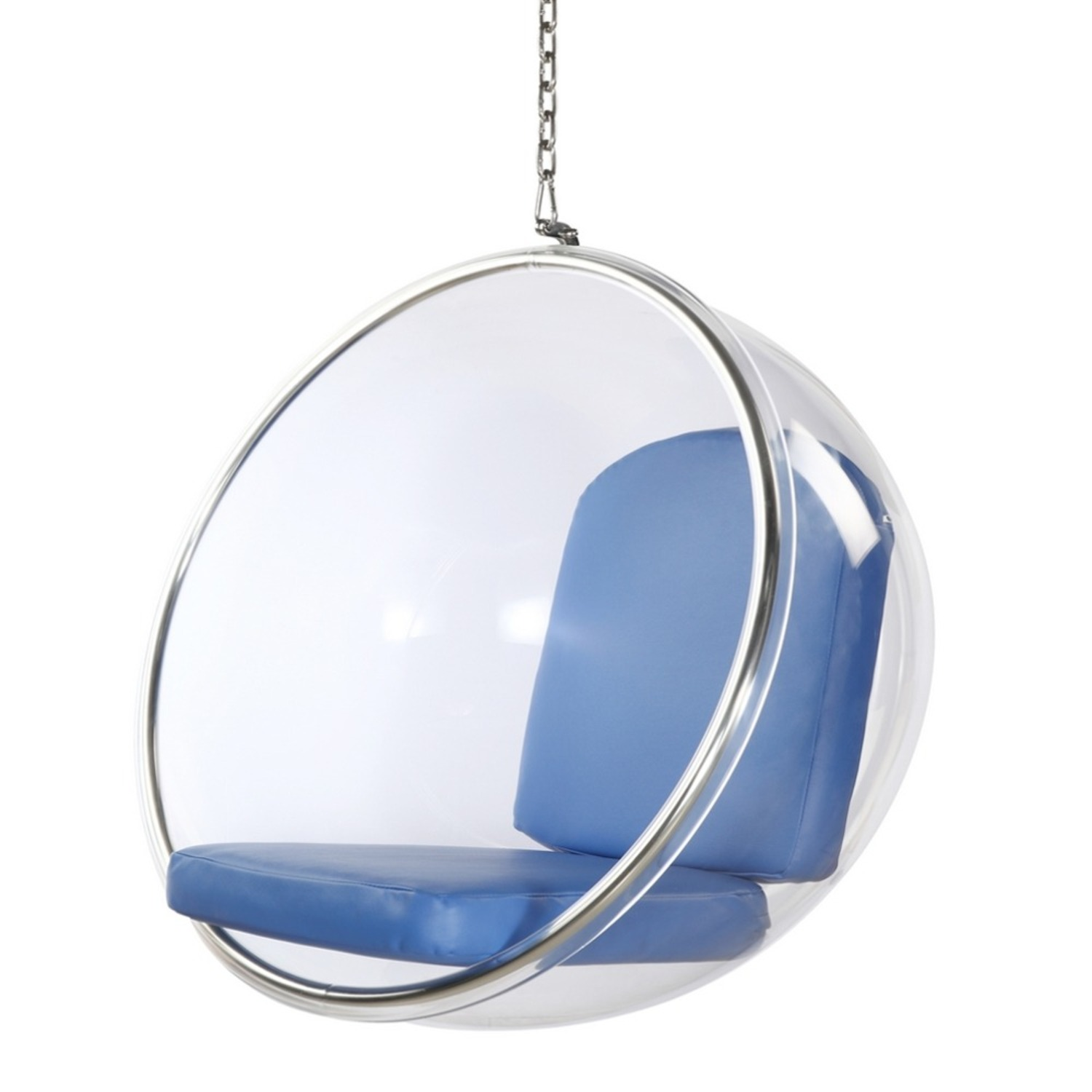 Hanging Chair In Clear Acrylic & Blue PU Leather - image-4