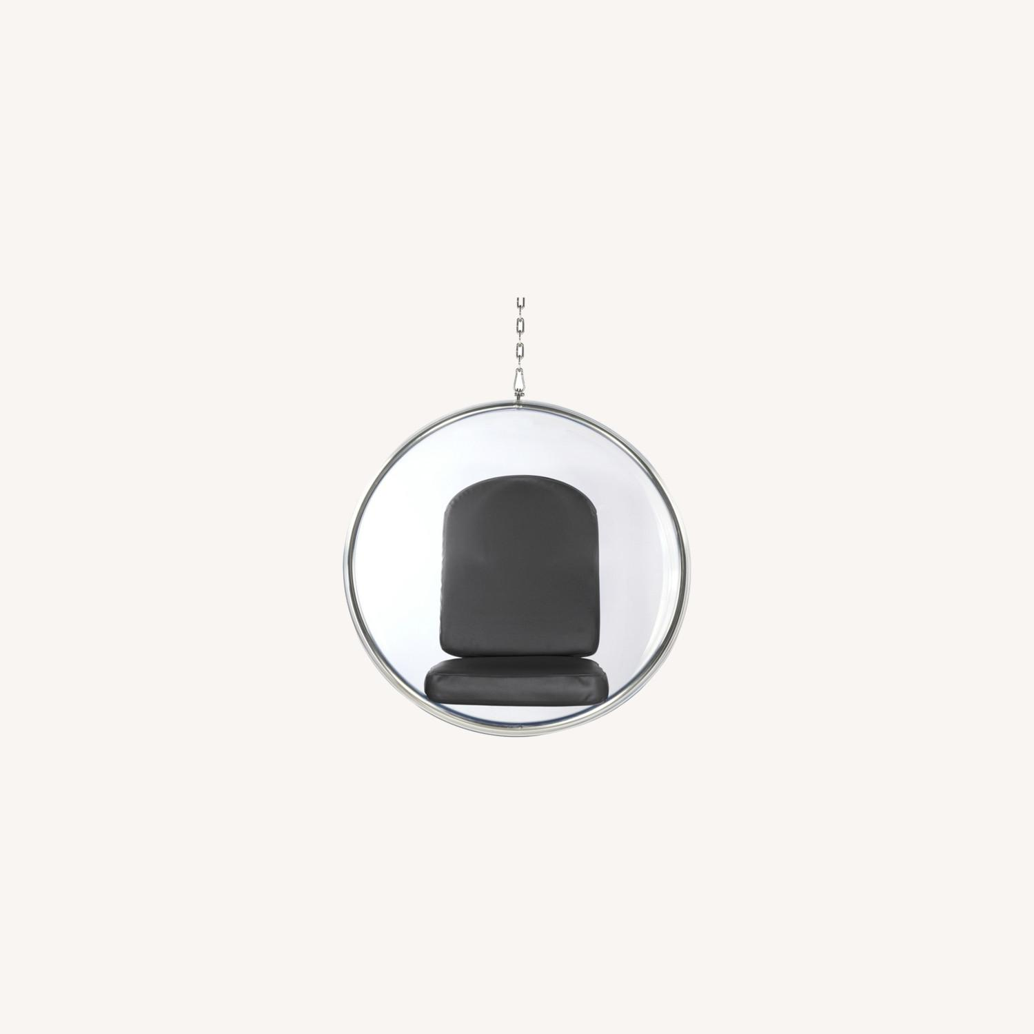 Hanging Chair In Clear Acrylic & Gray PU Leather - image-6