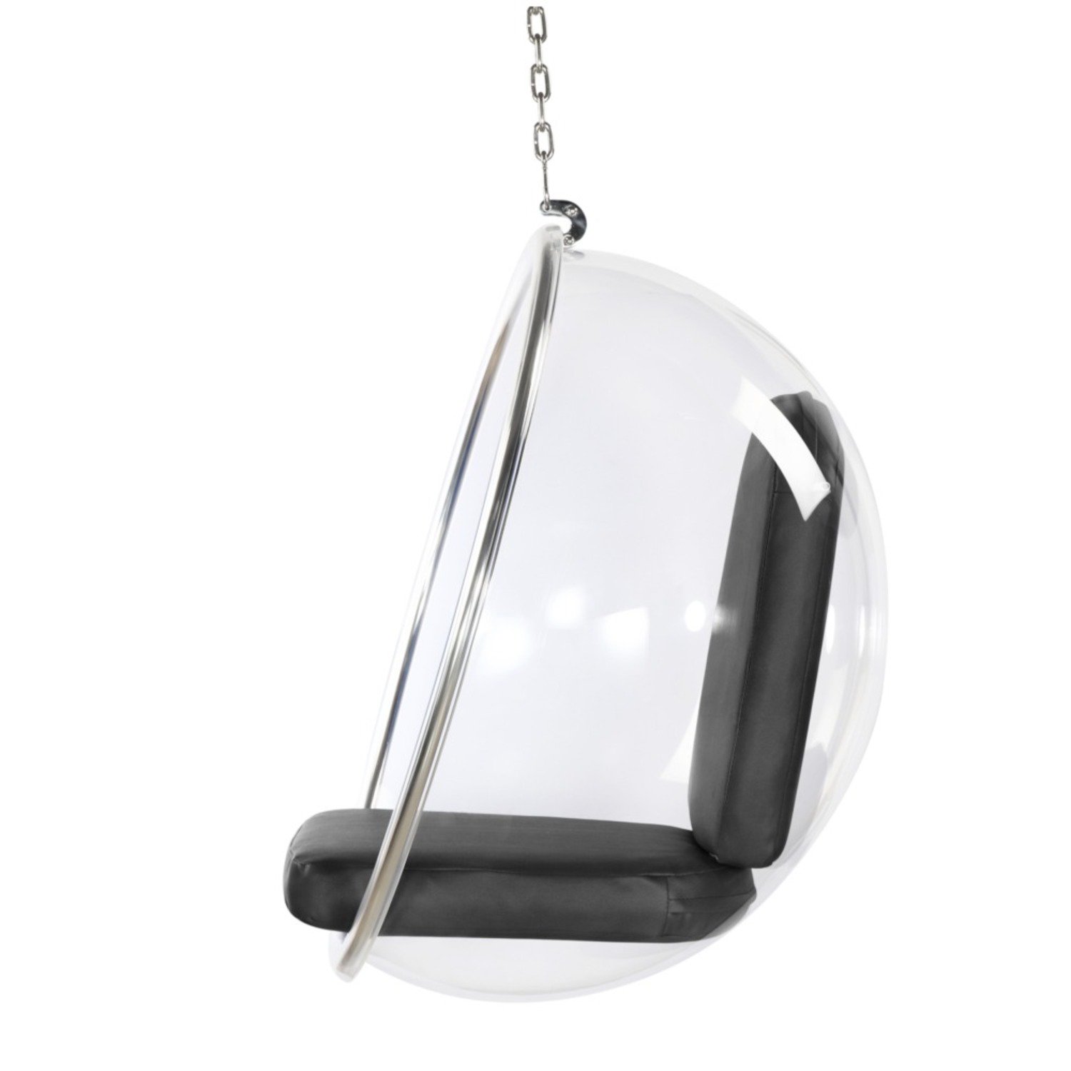 Hanging Chair In Clear Acrylic & Gray PU Leather - image-3