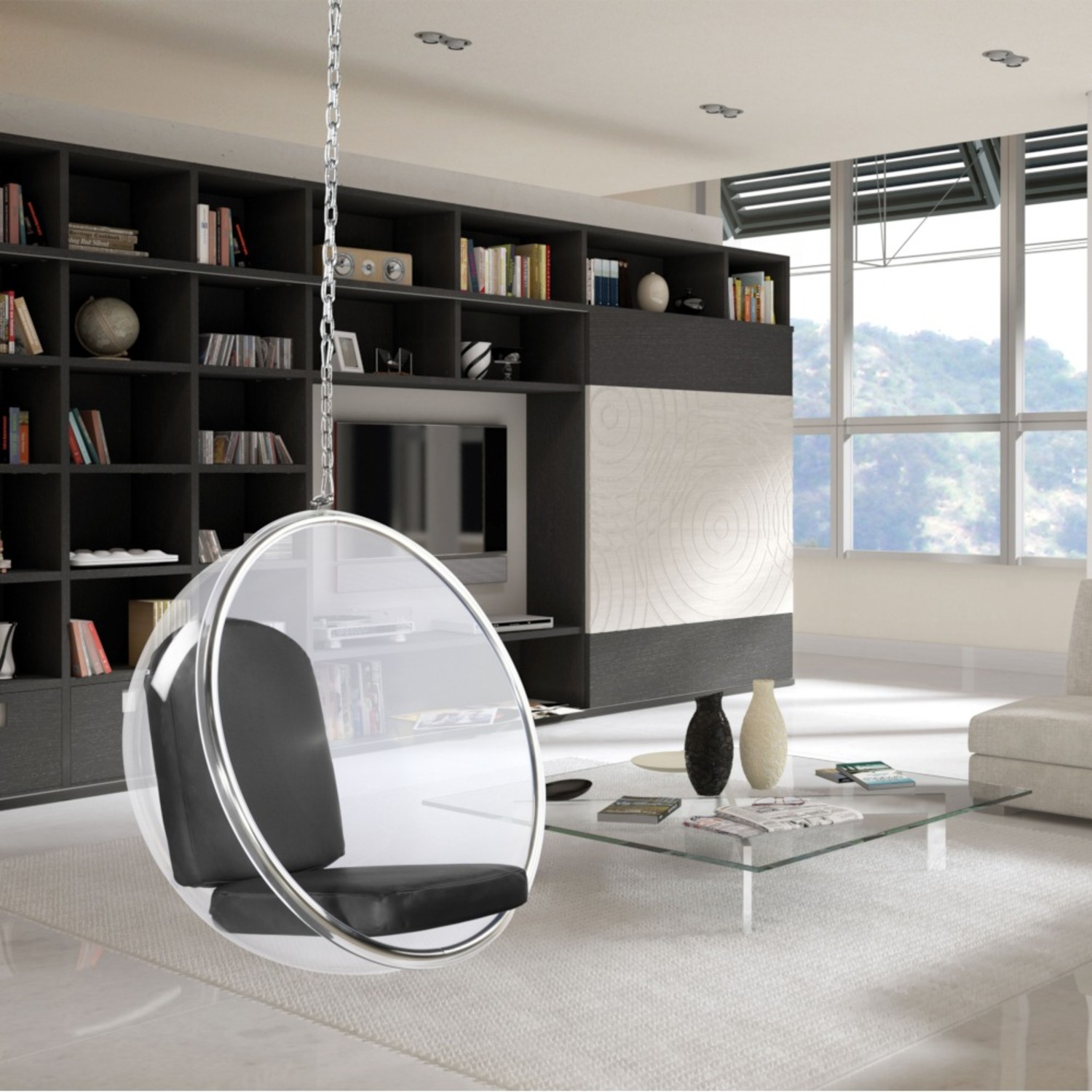 Hanging Chair In Clear Acrylic & Gray PU Leather - image-5