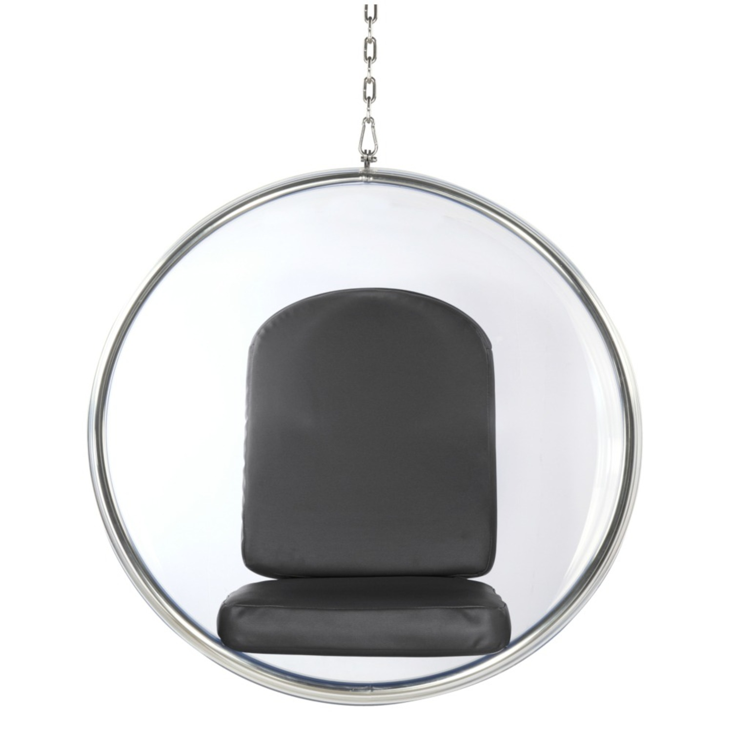 Hanging Chair In Clear Acrylic & Gray PU Leather - image-1
