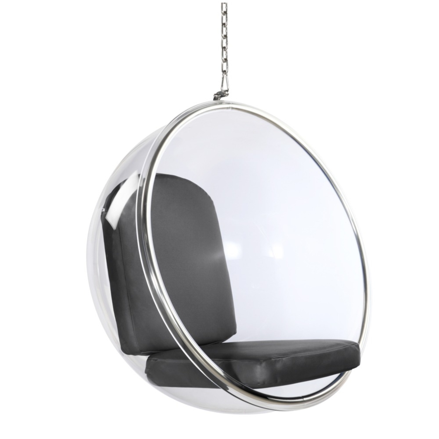 Hanging Chair In Clear Acrylic & Gray PU Leather - image-0