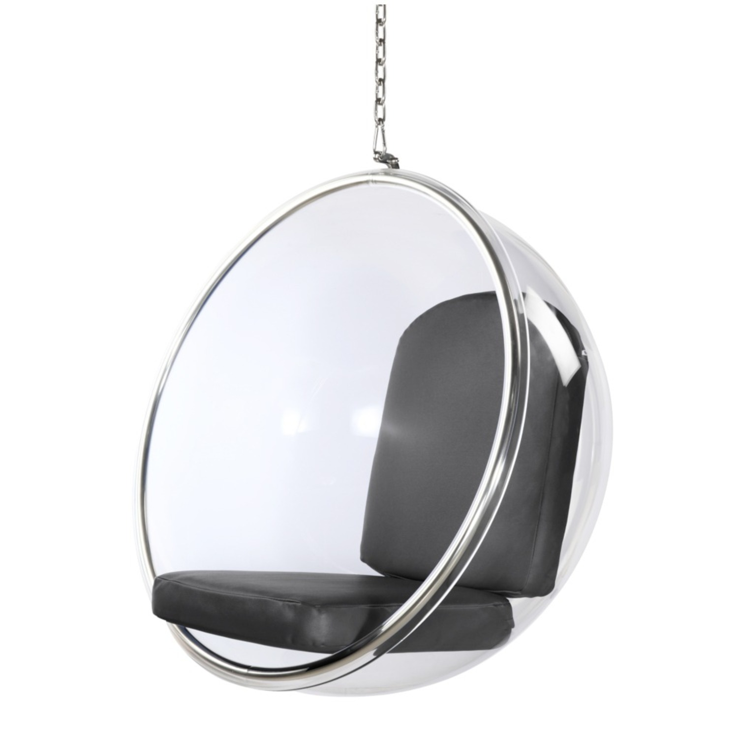 Hanging Chair In Clear Acrylic & Gray PU Leather - image-4